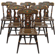 Lancaster County Pennsylvania Painted Chairs - L. B. Ebersol - Set of Six