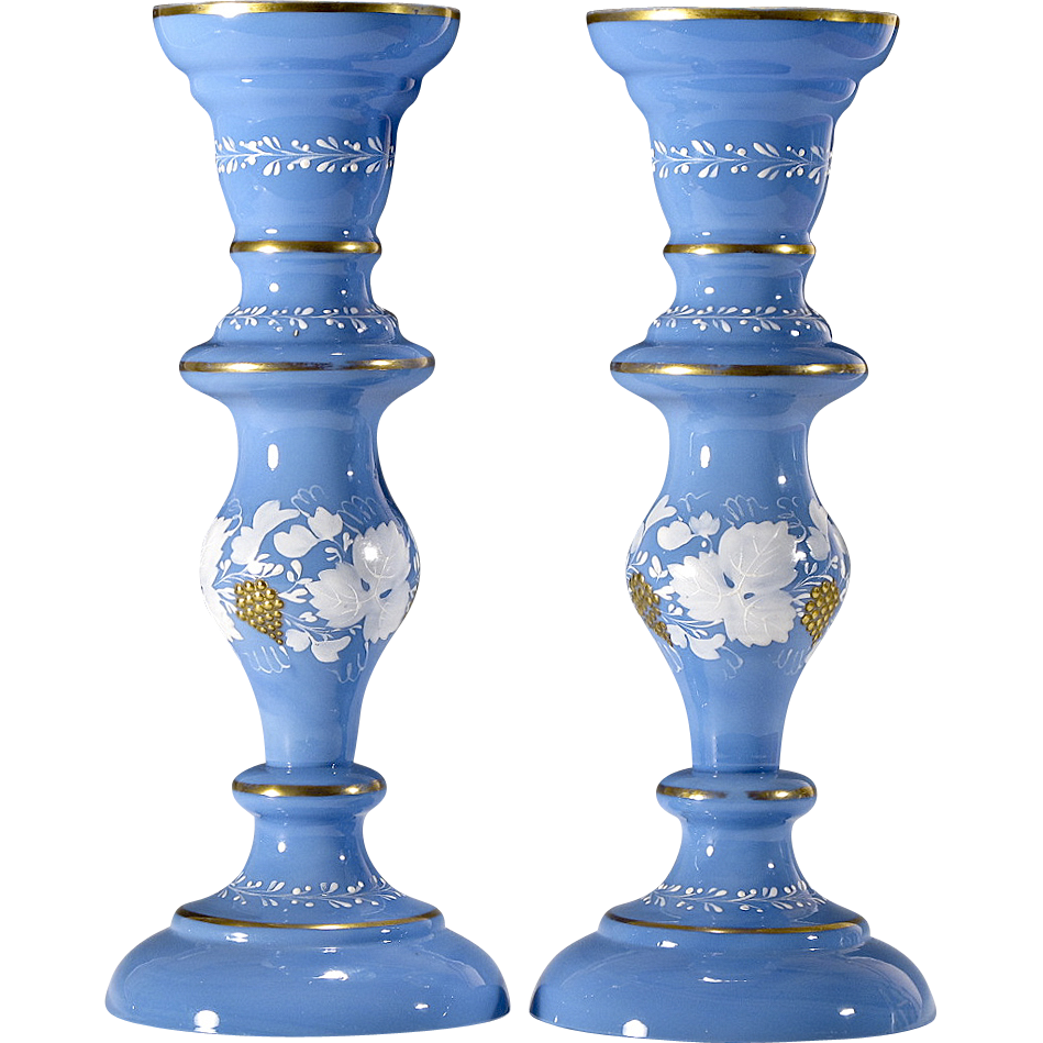 Antique Victorian Opaline Glass Candlesticks or Vases - Blue - Hand Painted Grape Decoration with Raised Gold Enameling