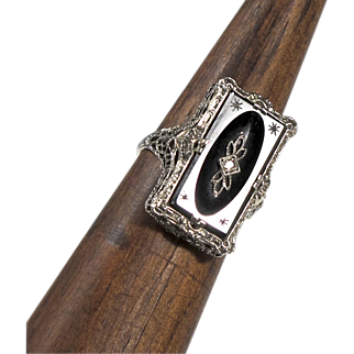 14K White Gold and Carved Onyx and Diamond Ring - Size 7 3/4