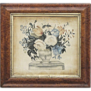 Antique Theorem Painting on Velvet in Original Frame - Americana - Folk Art -  Textiles - 1800 - 1840 - Birdseye Maple Veneer
