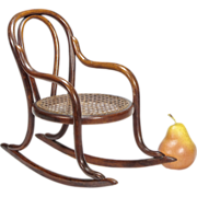 Antique Miniature Bentwood Rocker - Doll Furniture - Toy Chair