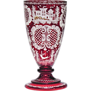 Antique Ruby Red Cut to Clear Bohemian Goblet Vase
