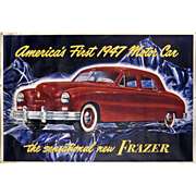 "Frazer Motor Car Advertising Poster - Huge 41 1/2"" x 61"" - 1947 - Mantiques - Americana - Automobiliana - Transportation"