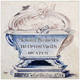 18th C Memorial Watercolor with Skull, Bones, Casket, and Hourglass - 1794 Memento Mori - Folk Art