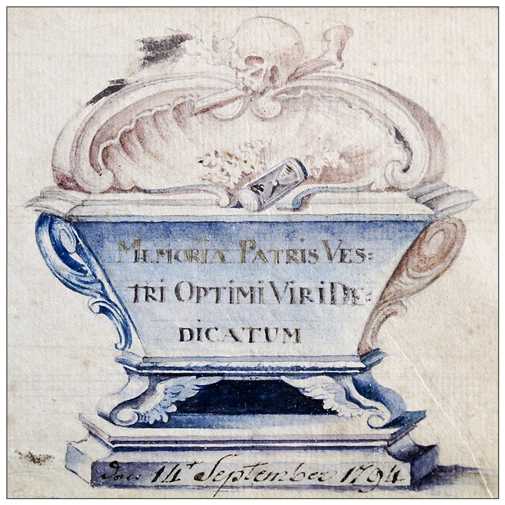 18th C Memorial Watercolor with Skull, Bones, Casket, and Hourglass - 1794 Memento Mori - Folk Art