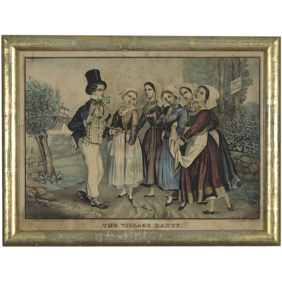 The Village Dandy - E B & E C Kellogg Print with Antique Gilded Frame
