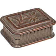 Black Forest Stamp Box with Carved Edelweiss Flower and Ingenious Clasp - Desk Item