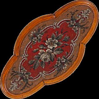 Antique 19th C English Tea Tray - Victorian Beaded Quatrefoil Trivet - Hand Beaded Platform