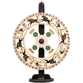 Carnival Gaming Wheel on Stand - Antique Folk Art - Wooden Steeplechase Gaming Wheel with Horses - Americana - Game of Chance