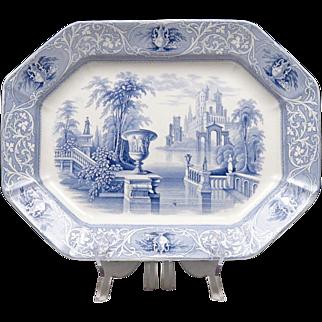 Large Antique Transferware Platter - Turkey Platter - Romantic Transfer Ware - Flow Blue - Ironstone - Mellor, Venables & Co. - Medici