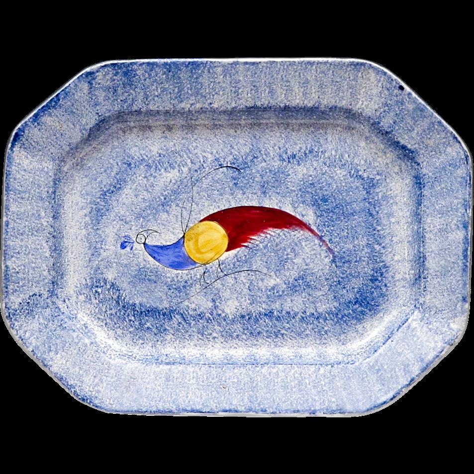 Large Antique Peafowl Spatterware Platter - Turkey Platter - Spongeware - Spatter Ware - Sponge Ware - Sponged Ware