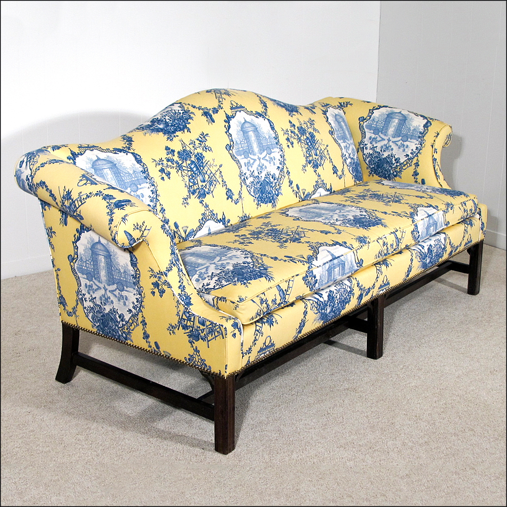 Chippendale Style Camelback Sofa New Upholstery Down Wrap Cushion From Oh On Ruby Lane