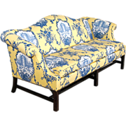 Chippendale Style Camelback Sofa - New Upholstery - Down Wrap Cushion - Couch - Setee