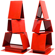 Pair of Industrial Steel Christmas Trees - Former Store Display Fixtures