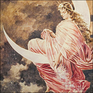 Watercolor Painting - The Fairy in the Moon