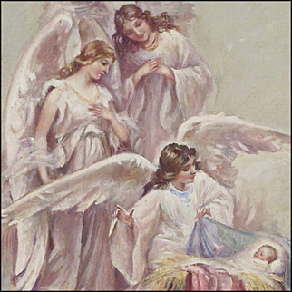Angels Greeting The Baby Jesus in The Manger - Oil on Canvas Board
