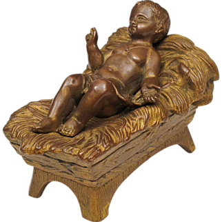 Jesus in the Manger - Small Bronze Sculpture