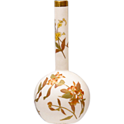 19th C Royal Worcester Bud Vase - Blush Ivory with Floral Decoration - Antique - 1892