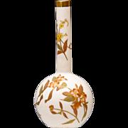 19th C Royal Worcester Bud Vase - Blush Ivory with Floral Decoration - Antique - 1892