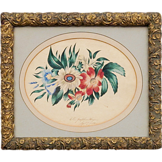 American Schoolgirl Painting by Ellen Josephine Hagen - Mid to Late 19th C - Polychrome Floral Watercolor Still Life - Folk Art