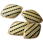 Antique 14K Gold Double Sided Cufflinks - Rose Gold, Yellow Gold, and Black Enamel - Cuff Links