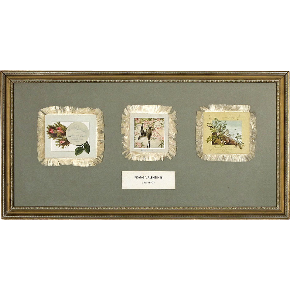 Antique L. Prang Valentines with Silk Fringe from the Norcross Historical Collection - c. 1880's - Framed