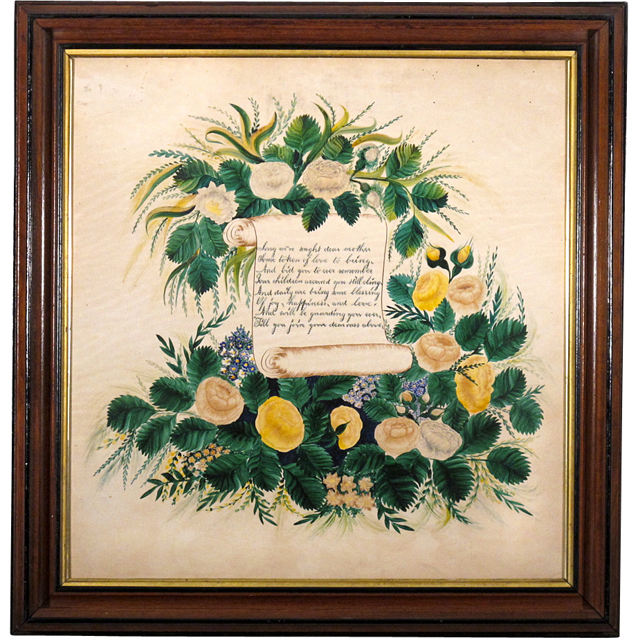 Large 19th C Folk Art Painting with Poem to Mother in Period Walnut and Lemon Gold Frame - Americana - Special Mother's Day SALE until May 31