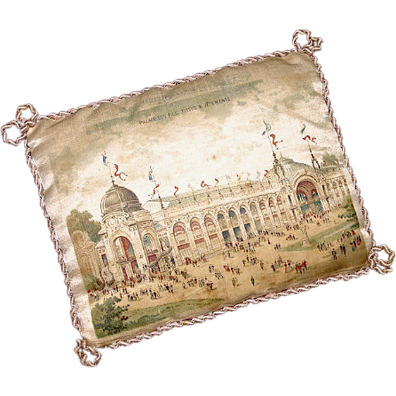 Rare Antique Souvenir Printed Silk Pincushion - Paris Universal Exhibition of 1900 - Exposition Universelle de 1900