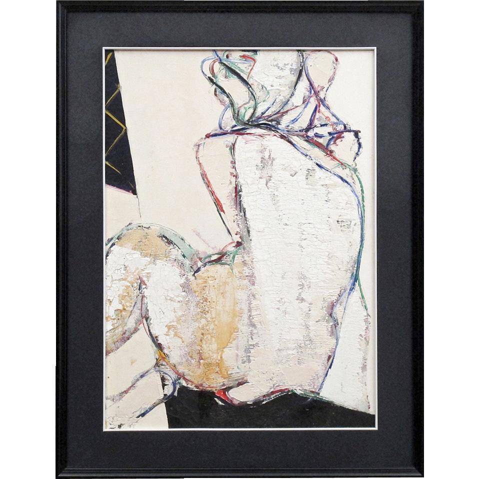 "Seated Nude - Oil On Canvas by Raffaele Ariante - ""Figura"""