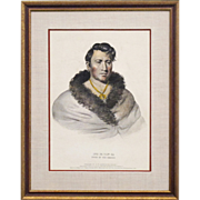Hand Colored Lithograph Circa 1838 of Ong Pa Ton Ga - Chief of the Omahas - From McKenney and Hall's History of the Indian Tribes of North America, Folio Edition - Americana