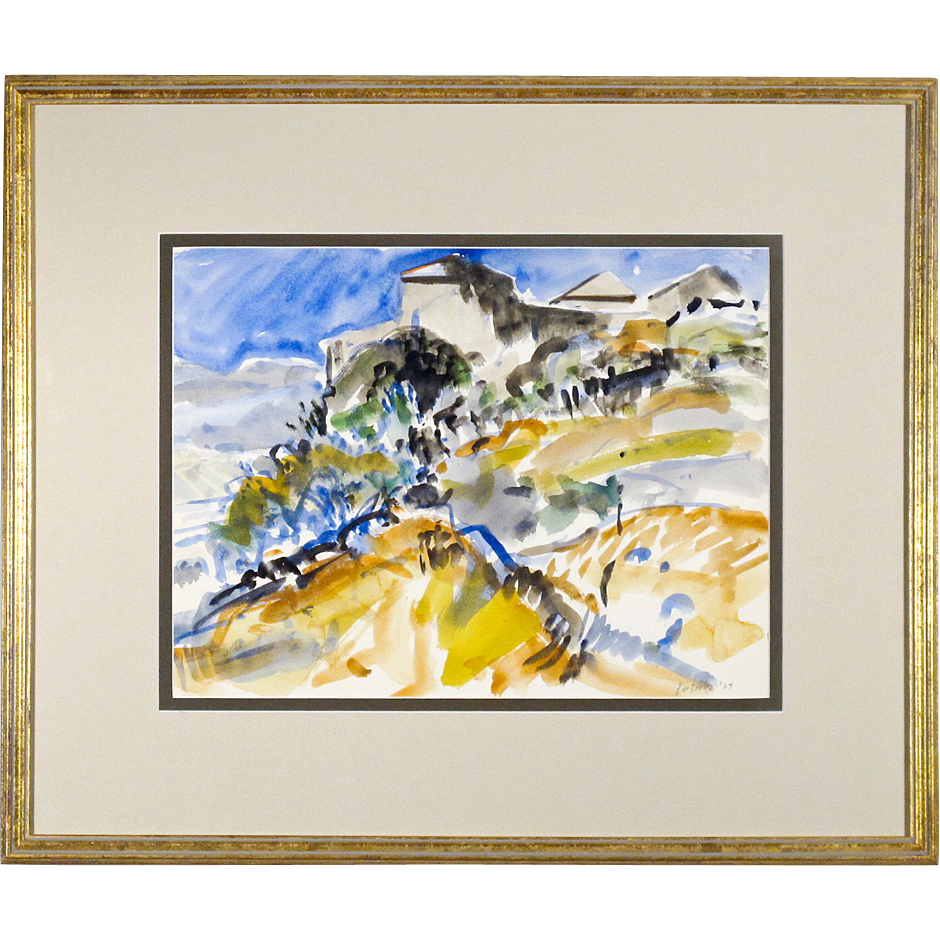 Watercolor Painting of a Tuscan Landscape by William Bartsch 1964