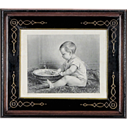 Steel Engraving after Timoleon Lobrichon in Antique Period Eastlake Victorian Frame - Baby Print