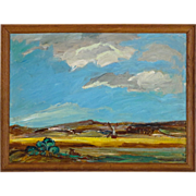 Impressionist 20th C Dutch Landscape Oil on Board - Signed