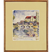 20th C Watercolor of French Auxerre Cathedral on the River Yonne by Listed Artist