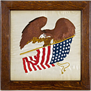 Americana Patriotic Folk Art Embroidery - Eagle Holding American Flag