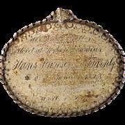 Antique Danish Grave Marker of a Jewish Gardener, 1823 - Memorial Plaque