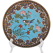 Japanese 19th C Meiji Cloisonne Charger with Song Bird among Rose Blossoms - Enamel Plate