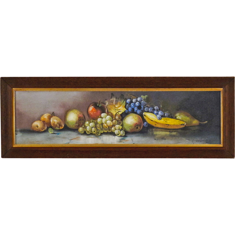 Still Life Painting of Fruit in Yard Long  Format - Antique American Pastel in Original Oak Frame -  Signed O. Arnold