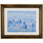 Tuscan Landscape Painting by Contemporary Italian Artist, Fosco Fantone - Oil on Wood - Blue Firenze