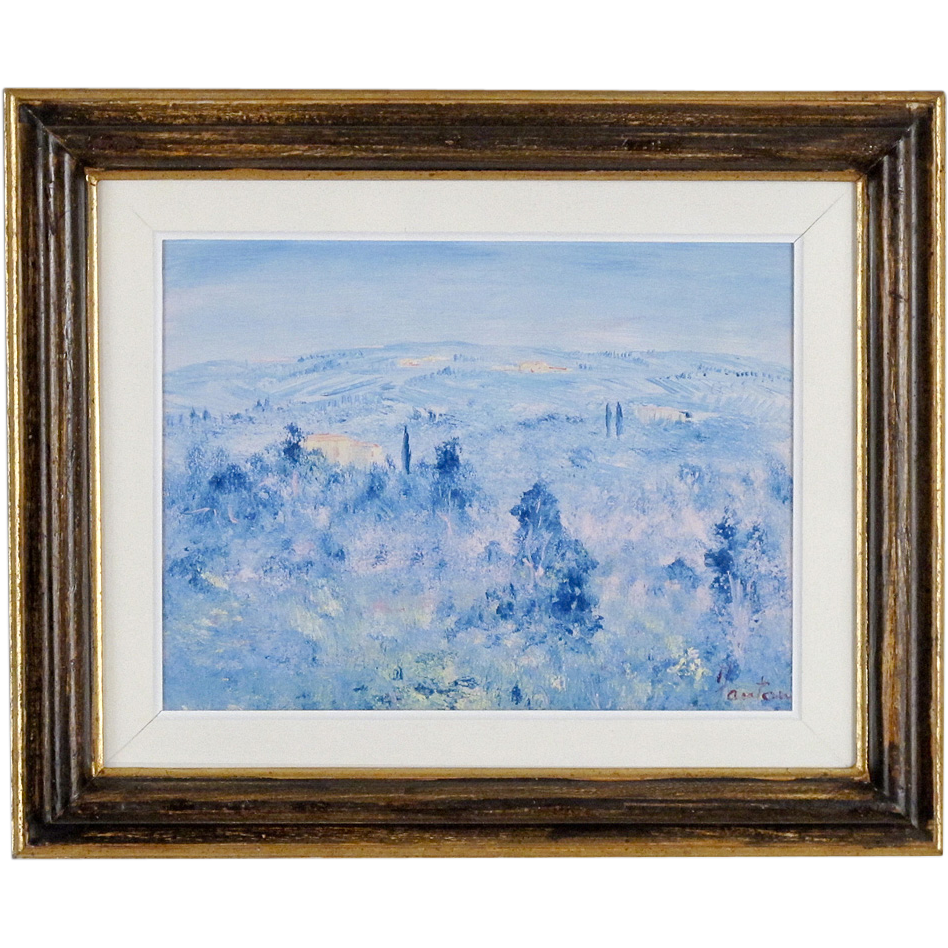 Tuscan Landscape Painting by Contemporary Italian Artist, Fosco Fantone - Oil on Wood - Blue Firenze
