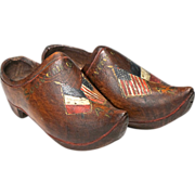 WW1 Commemorative Wooden Children's Shoes or Sabot - American Flag and French Flag - Folk Art