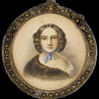Antique American Folk Art Portrait - 19th C Watercolor of a Woman - Americana