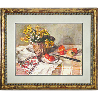 Impressionistic Painting of  Flowers, Fruit, and Linen - Russian Artist