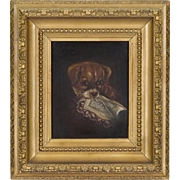 Antique Oil Painting of a Dog - Victorian Oil on Canvas in Ornate Period Frame - 19th C - Naughty Puppy Chewing a Lace Hankie