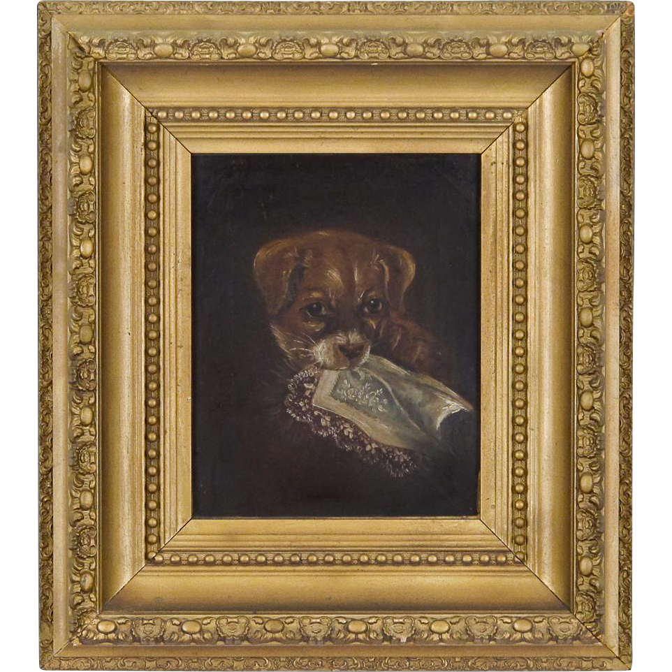Antique Oil Painting Of A Dog Victorian Oil On Canvas In
