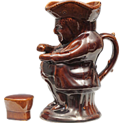 Antique Snuff Taker Toby Jug with Cover - Rockingham Treacle Glaze