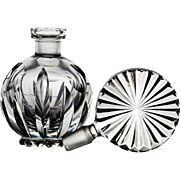 Cut Crystal Perfume Bottle with a Sunburst Stopper - Cut Glass - Czech - Bohemian