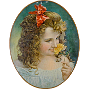 "Chromolithograph Advertising Portrait on Tin - ""Purity"" - Americana"