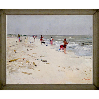 Impressionist Painting - Oil on Canvas by Frank C Herbst - American Impressionism - Fishing on the Beach