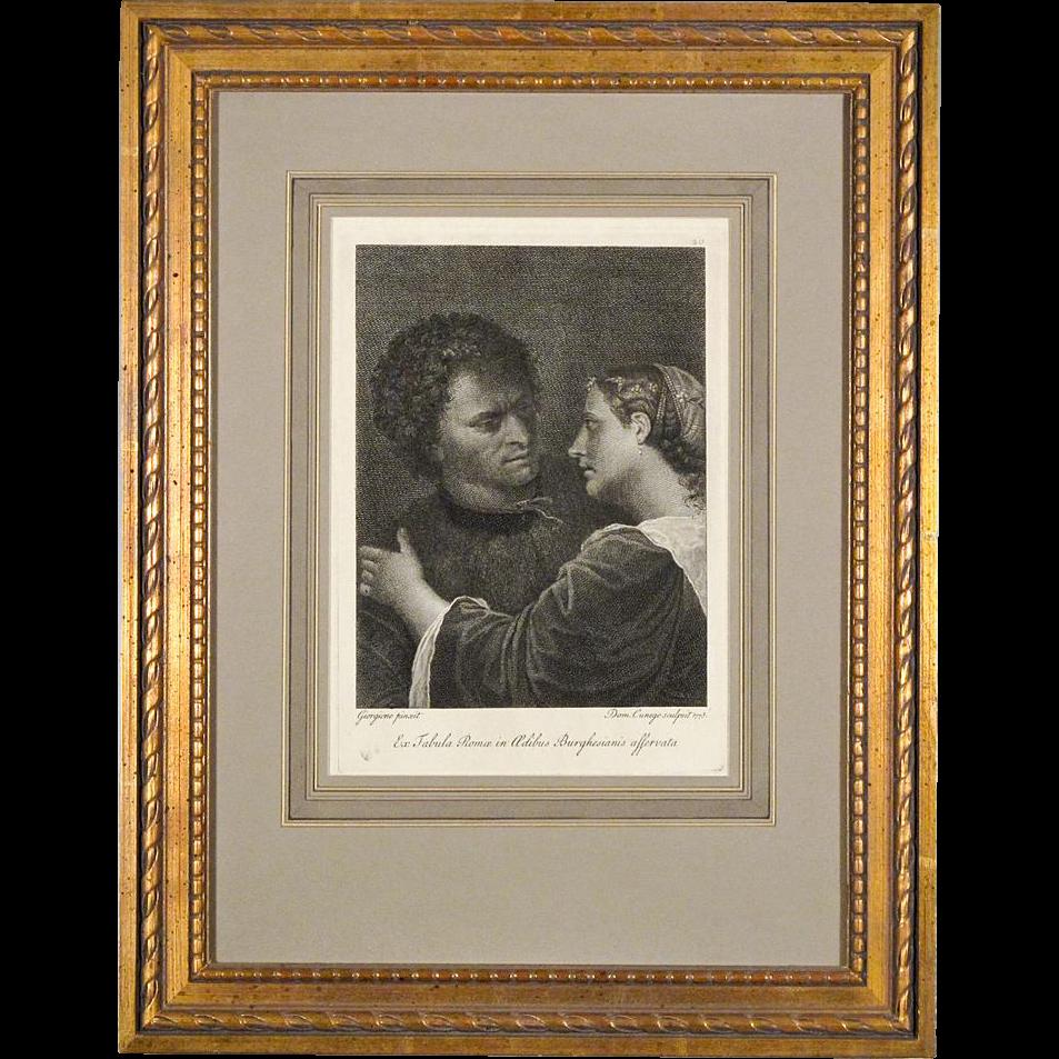 Antique Engraving - The Lovers after Giorgione (Giorgio Da Castelfranco) by Domenico Cunego from Gavin Hamilton's Schola Italica Picturae, 1773, London